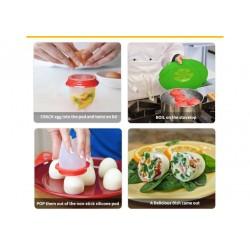 Κιτ 6 Τεμαχίων Για Βράσιμο Αυγών - Αυγοθήκες Βρασίματος Silicone Egg Boil